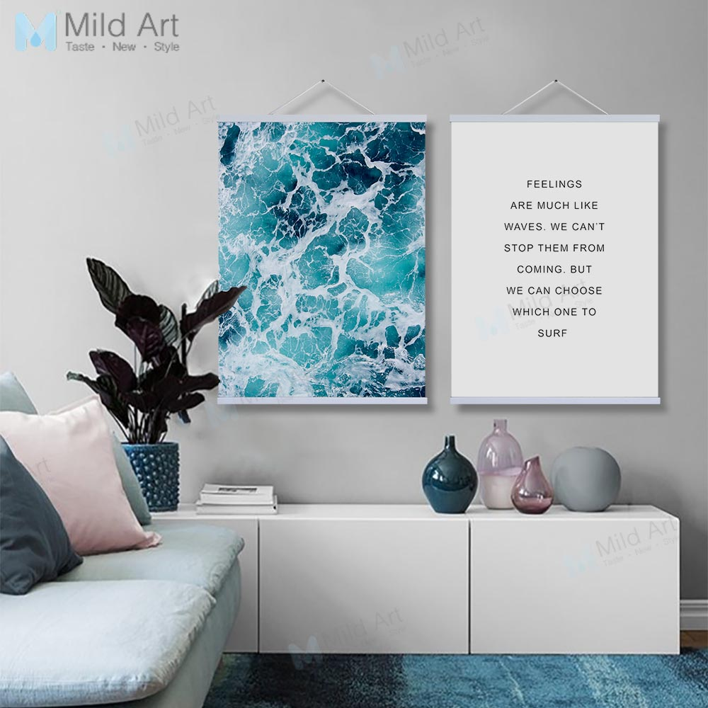 Modern Minimalist Blue Sea Ocean Wave Life Quotes Wooden Framed ...