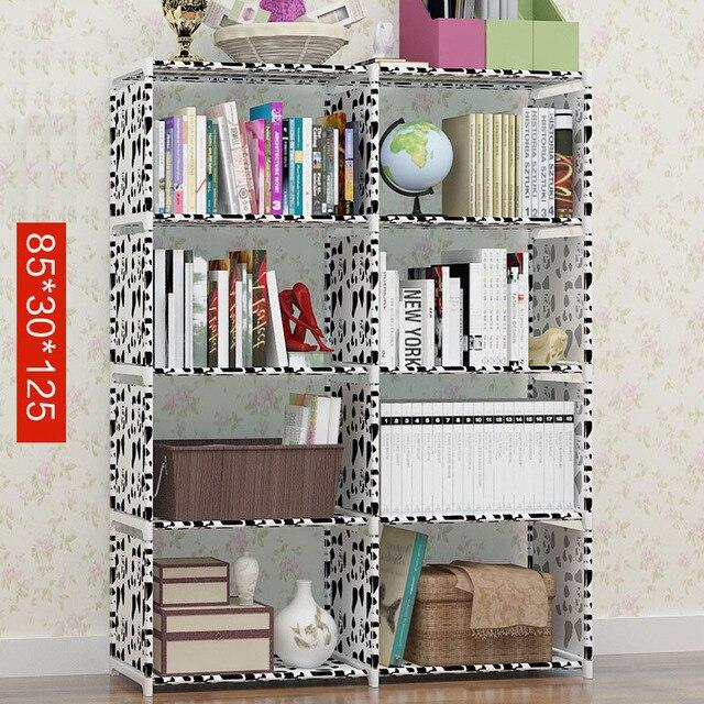 Elegant Simple Modern Simple Assembly Metal Reinforced Bookcase Combination Multi Function  Bookcase Indoor Floor Shelf Display Design Ideas