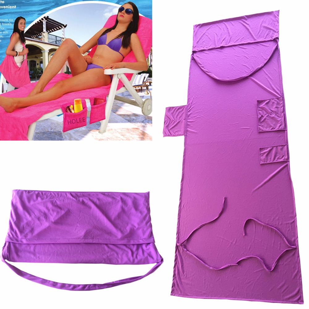 210*75cm Holiday Beach Lounge Chair Cover Towel Summer Cool Bed Garden Beach Towels Sunbath Lounger Chair Mat With Large Pocket
