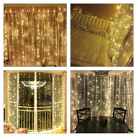 Kmashi 3x3M 300LED Curtain Lights LED String Lights Connectable Christmas Fairy Twinkle Lighting Indoor Outdoor Wedding