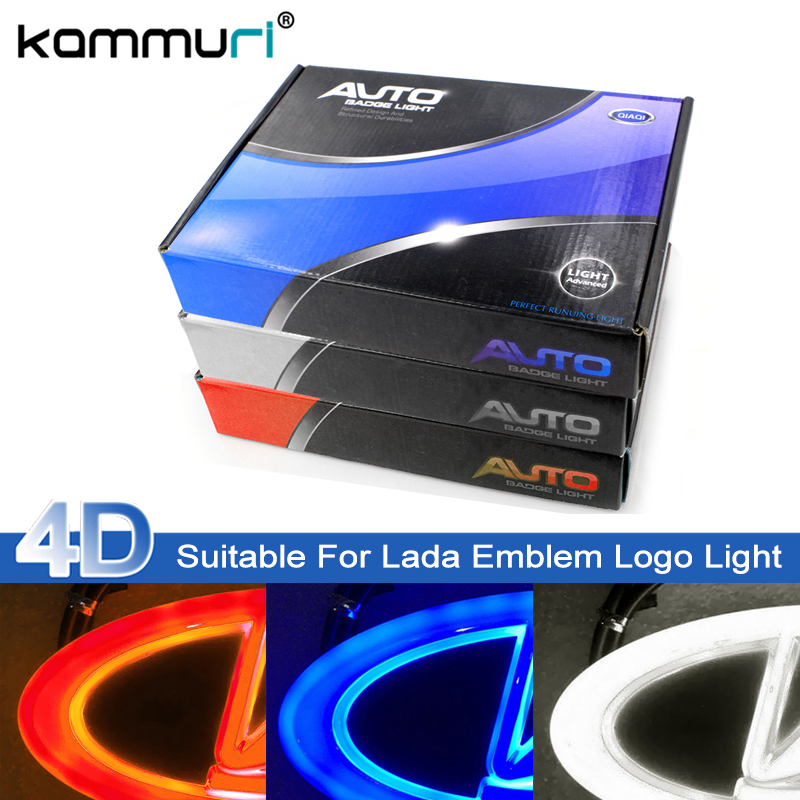 цена на Car Styling 4D Cold Light LED Emblem Logo Light for Lada Granta Vesta Xray Largus VU 4X4 Niva Kalina Priora Emblem Logo Lights