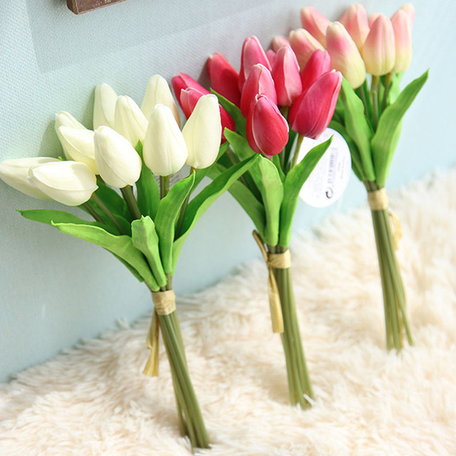 10pcs Set Artificial Tulip Flowers Wedding Decoration Single Long Stem Bouquet Beautiful Simulation Flower Party