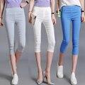 2017 Mulheres Verão Plus Size Calças Capris Meados Cintura Elástica Mulheres Calças Capris Casuais Calças Cortadas calças Skinny Para Meninas
