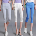 2017 Summer Plus Size Women Capris Pants Mid Waist Elastic Women Casual Cropped Pants trousers Skinny Pants Capris For Girls