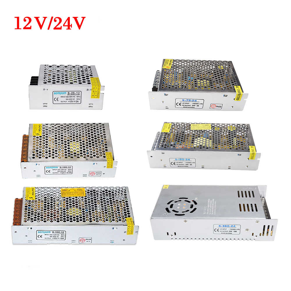 24V Switching Power Supply 12V Power Source Transformer 1A 2A 3A 5A 8A 10A 20A 30A AC 110V 220V to DC 12 V 24 V volt Converter