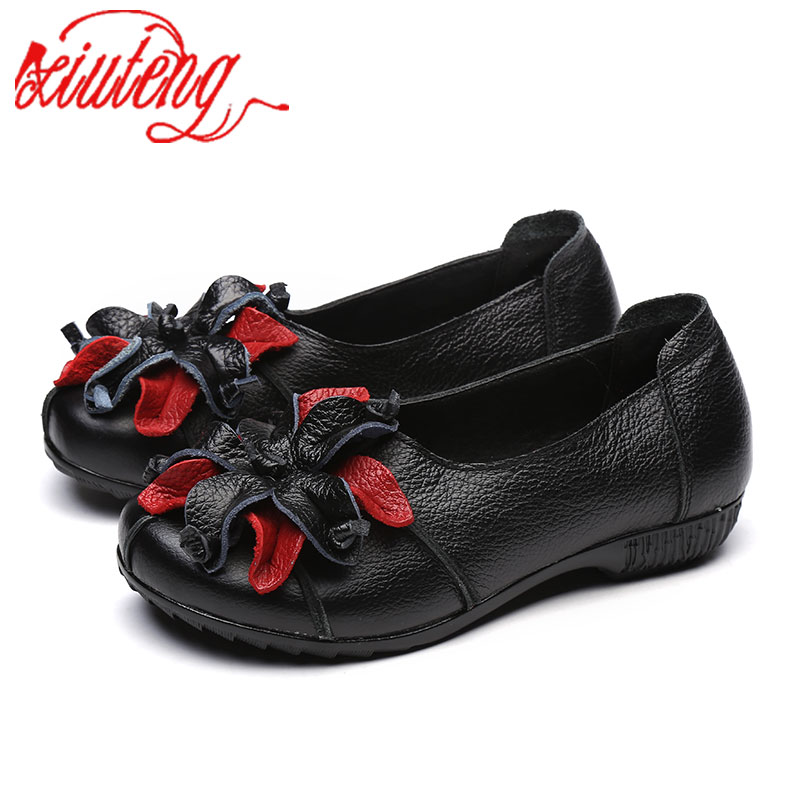 Xiuteng Summer Autumn Fashion Flower Design Round Toe Mix Color Flat Shoes Vintage Genuine Leather Women Flats Girl Loafer A006 front lace up casual ankle boots autumn vintage brown new booties flat genuine leather suede shoes round toe fall female fashion