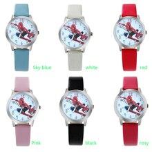 ot03 Spider Cartoon Watch Children Kids Wristwatch Boys Clock Child Gift Leather Wrist Watch Quartz Cartoon-watch Quartz-watch