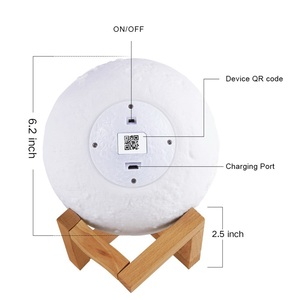 Image 2 - 3D מודפס ירח מנורת Wifi App שליטה חכם קול שליטה תואם עם אמזון Alexa USB טעינה צבעוני לילה אור