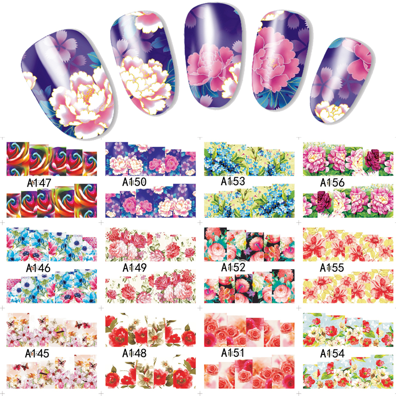 12 Sheets 12 Styles Rose Pattern Water Transfer Nail Art Stickers ...