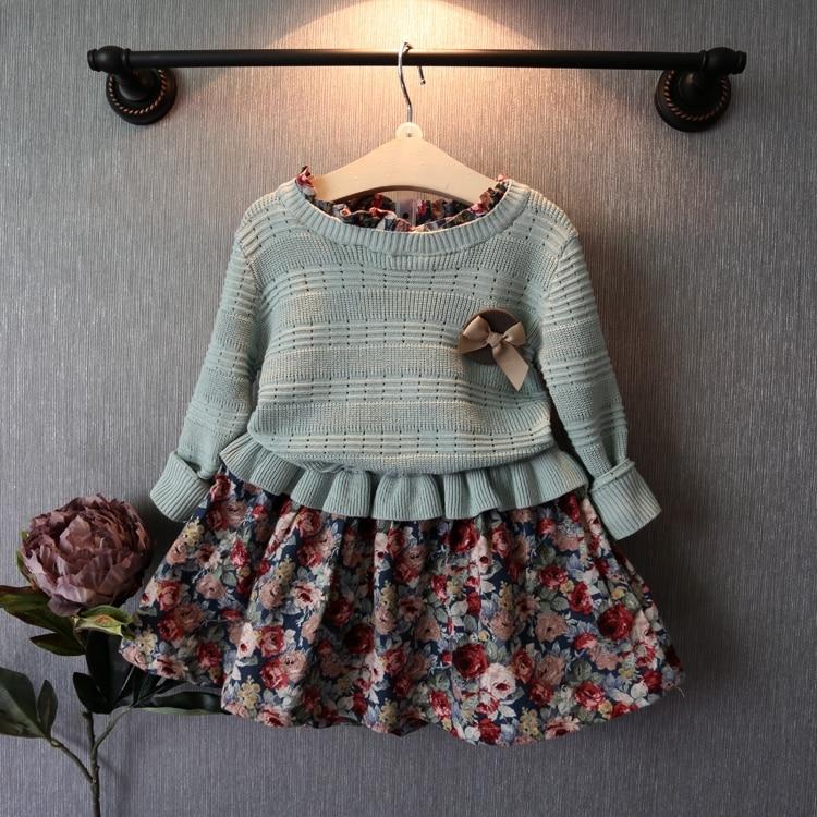 Вязаные детские платья с длинным рукавом