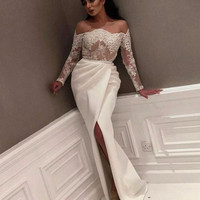 White 2018 Prom Dresses Mermaid Long Sleeves Appliques Lace Party Long Prom Gown Evening Dresses Robe De Soiree