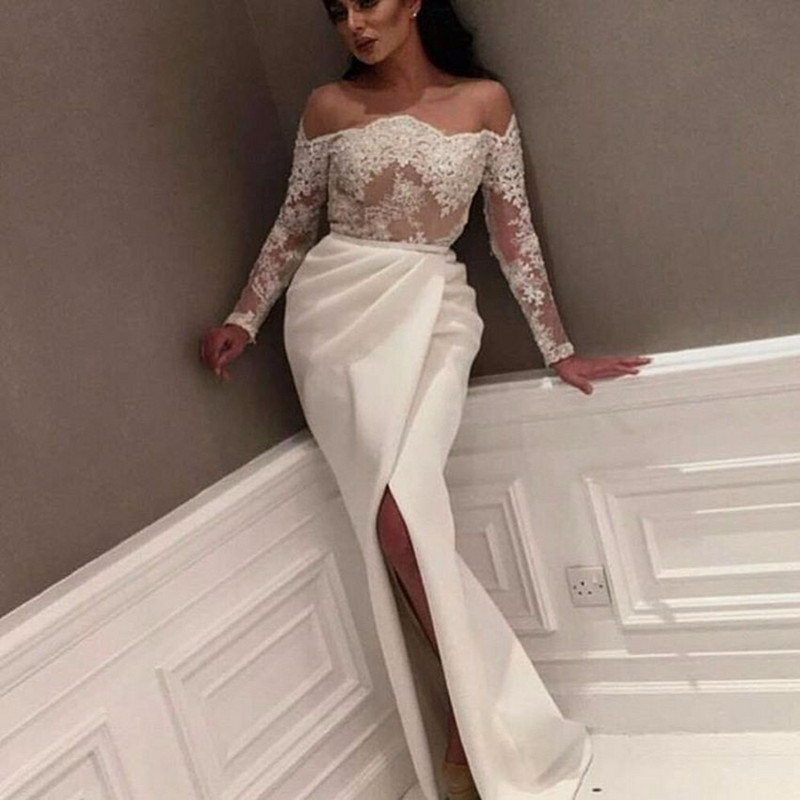 White 2018 Prom Dresses Mermaid Long Sleeves Appliques Lace Party ...