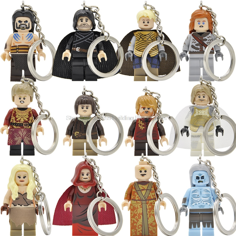 Game of Thrones Block Jon Snow Lannister Daenerys Keychain A Song of Ice and Fire Keys Ring DIY Chain Building Blocks Toys