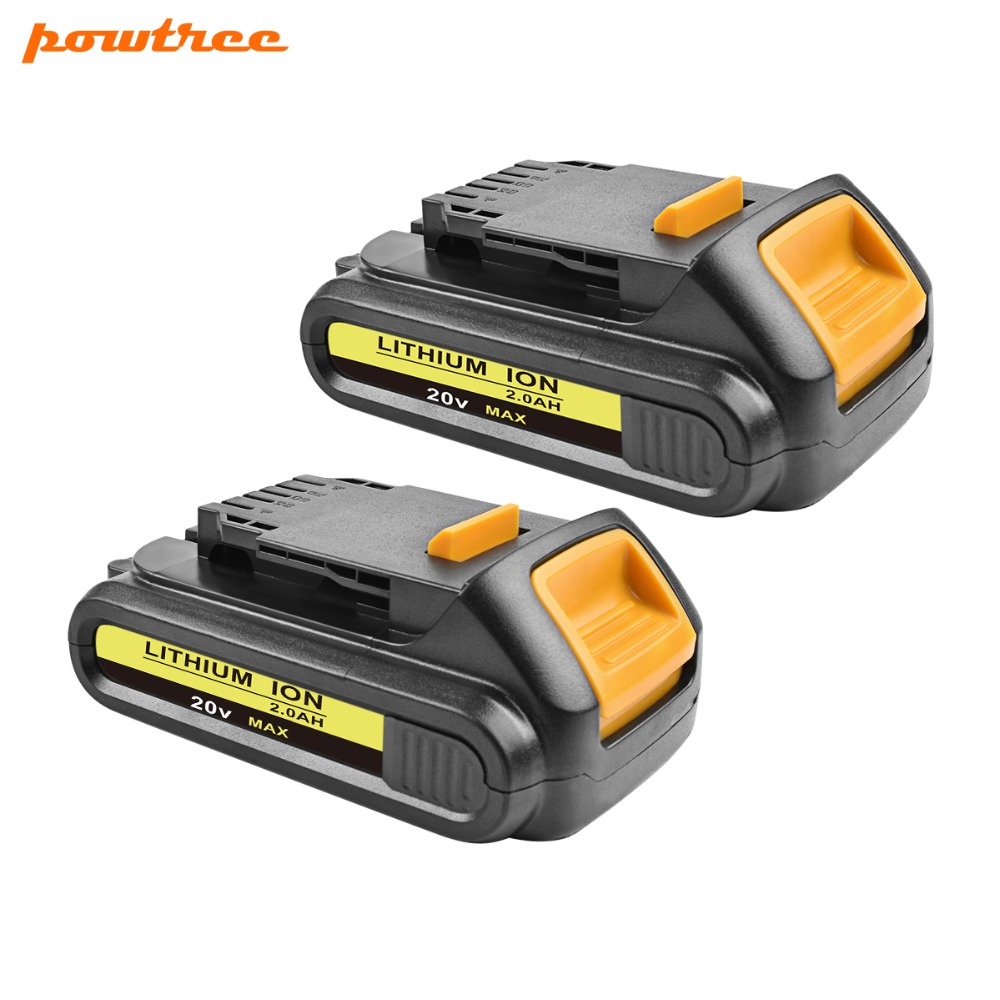 2X 18V 2000mAh DCB200 Li-ion Rechargeable Power Tool Battery For DEWALT DCB203 DCB181 DCB180 DCB200 DCB201 DCD996 DCB201-2 L10