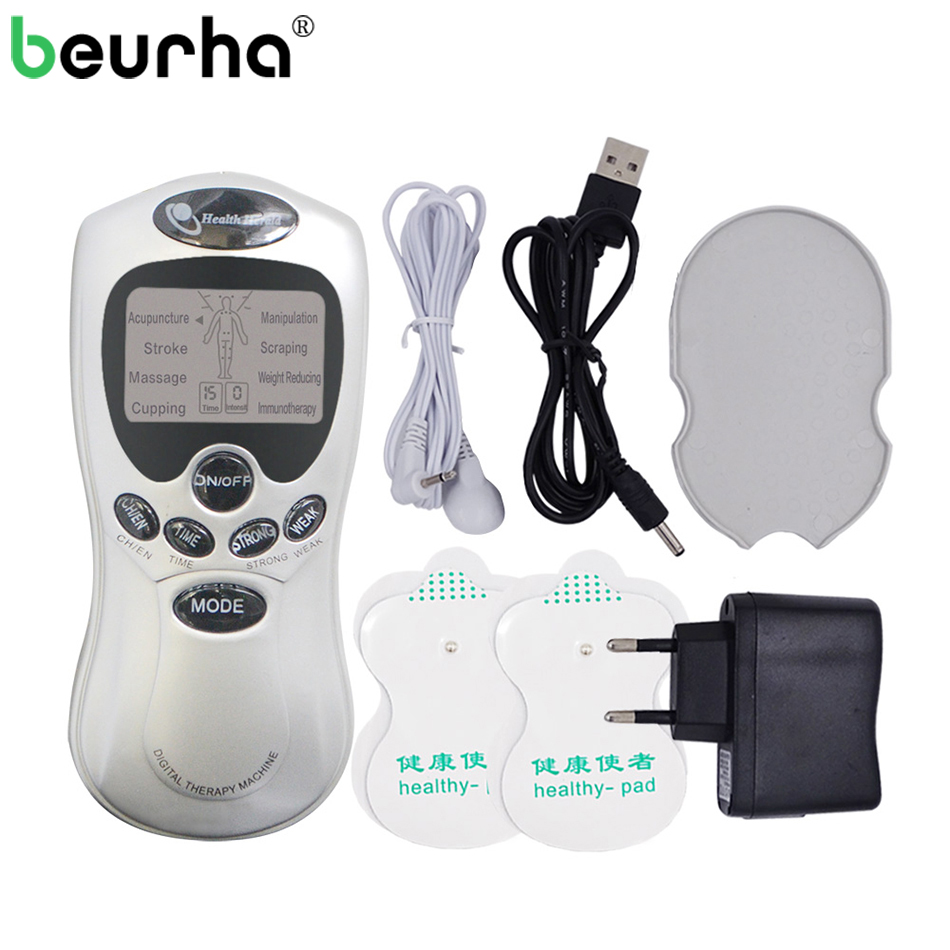 Electronic TENS Body Digital Meridian Therapy Massager Machine Slimming Muscle Relax Fat Burner Pain 4 Pads Pulsed Massager 1pcs dual output mini electronic slimming body physiotherapy tens therapy massager machine electrode pads electrostimulator
