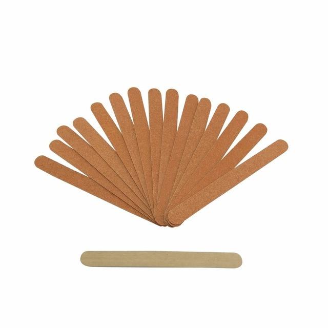 100 pcs/lot wooden nail files buffers Ultra thin Long strip brown ...