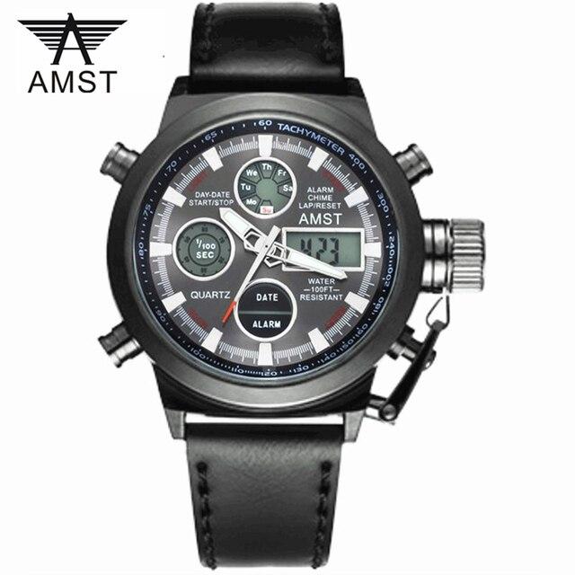 Часы Мужчины Люксовый Бренд AMST Dive СВЕТОДИОДНЫЙ Цифровой Часы Спорт Военная Подлинной Кварцевые Часы Мужчины Relogio Masculino
