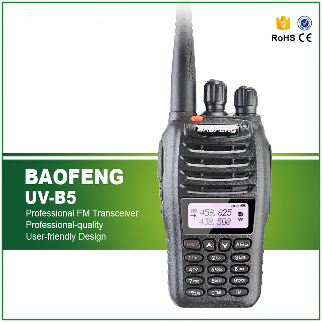 Baofeng UV-B5 radio de Dos vías de radio de Doble Banda VHF 136-174 MHz y UHF 400-480 MHz 5 W 99CH Transmisor FM Radio Portátil Baofeng UV B5 Radio