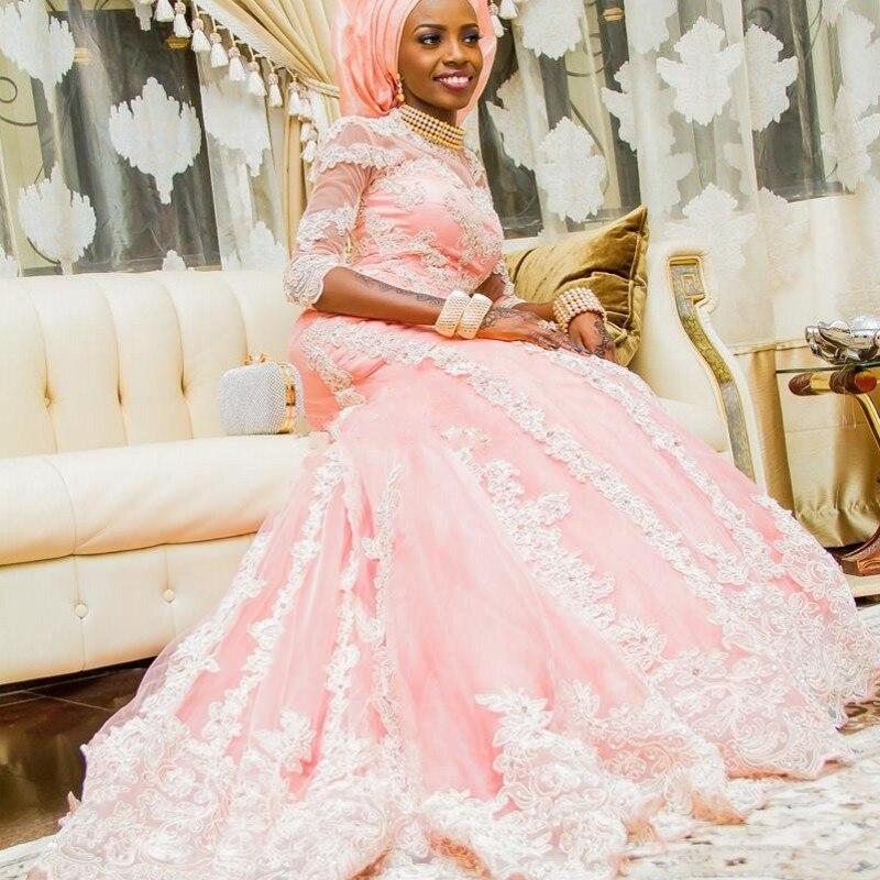 Nigrian Bridal Wedding Dresses: Lace Mermaid Wedding Dresses With Sleeves Pink Arabic