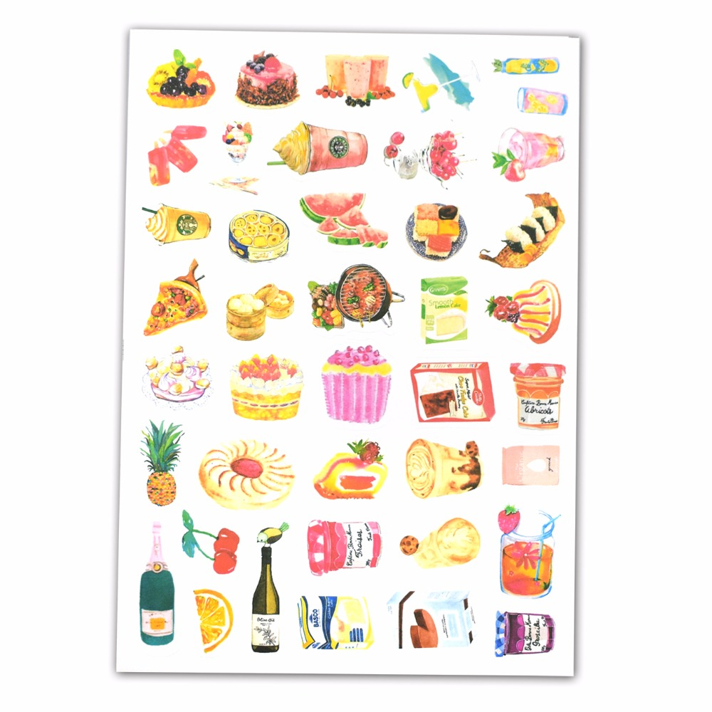 1 Sheet Cake Dessert Jelly Drink Stickers for Furniture Home Appliances Helmet Notebook Cups Home Decor Decals Cartoon Sticker
