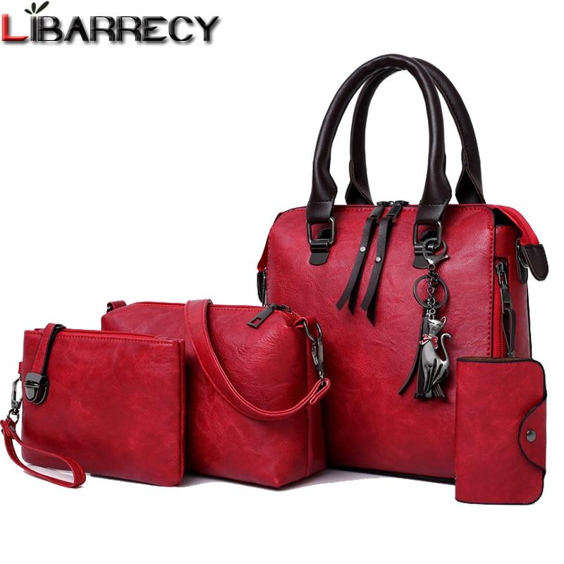 Luxury Brand 4 Psc/set Women's Handbags Large Capacity Women Bag Ladies Leather Tote Fashion Shoulder Bags For Women 2018 Wallet