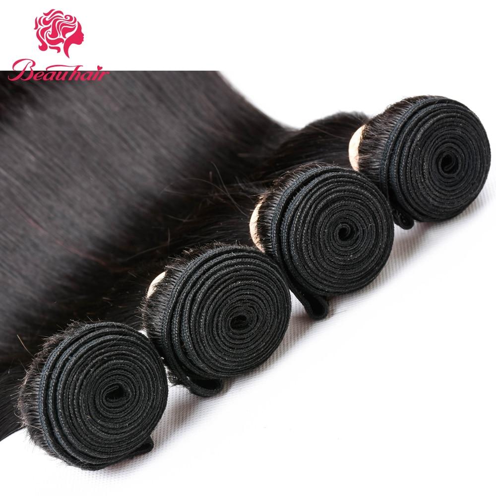 BeauHair Peruvian Hair 4Bundles with 4*4 Lace Closure Deal Straight Human Hair Weaving Bundle Natural Black Human Hair Extension