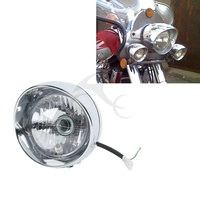Chrome Front Bullet Headlight For Harley Cruise Honda Steed Shadow Motorcycle