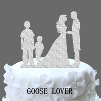 Family Wedding Cake Topper With 2 Boy Bride And Groom Silhouette With Kids Cake Topper Wedding