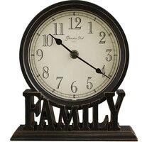 Retro 5 inch Family Love Letter Base Desktop Clock Vintage Table Clock For for Living Room Bedroom Decoration