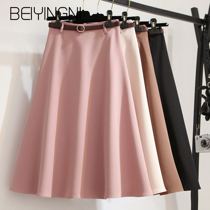 Beiyingni Summer Sashes A-line Skirts Women Solid Elegant Kpop Tutu Skirts Office Lady Umbrella Midi Skirt Vintage Faldas Mujer