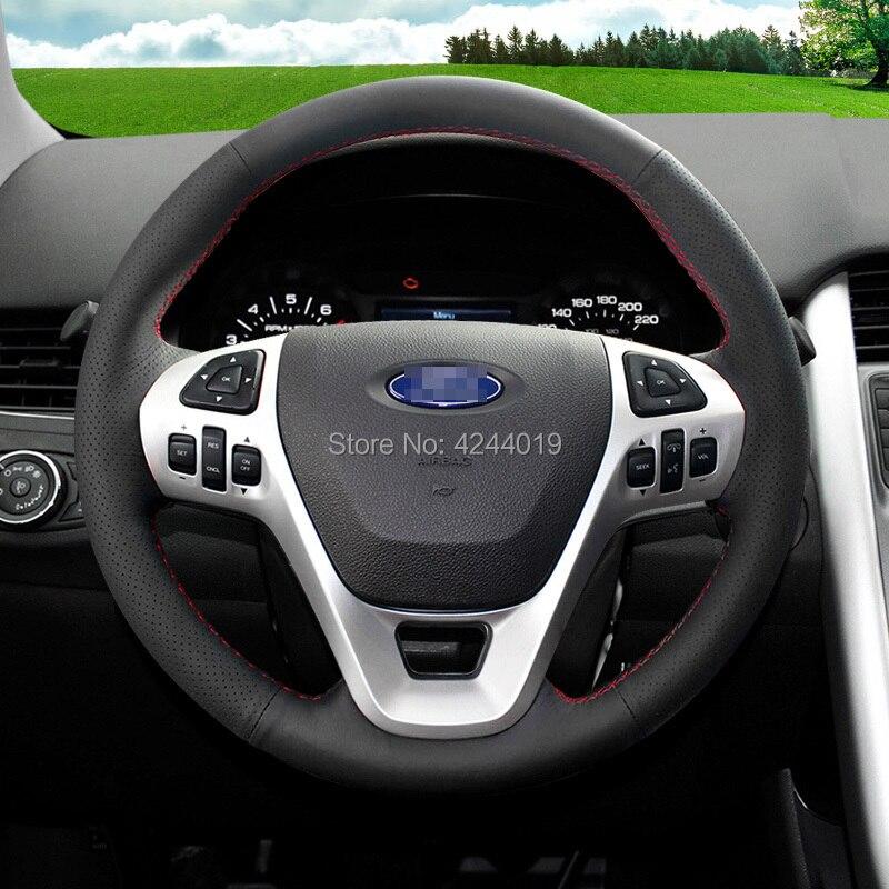 Pour Ford Edge Sport en cuir noir bricolage à la main couture volant couverture accessoires de voiture