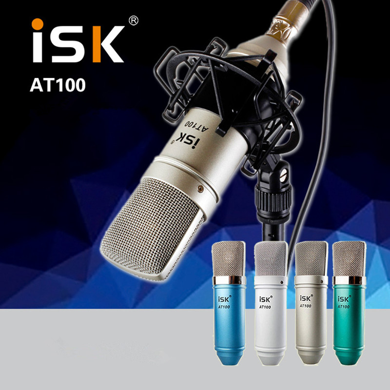 Original ISK AT100 Microphone Condenser Microphone For Computer Recording Studio Performance Network K Song Microphones + Mount