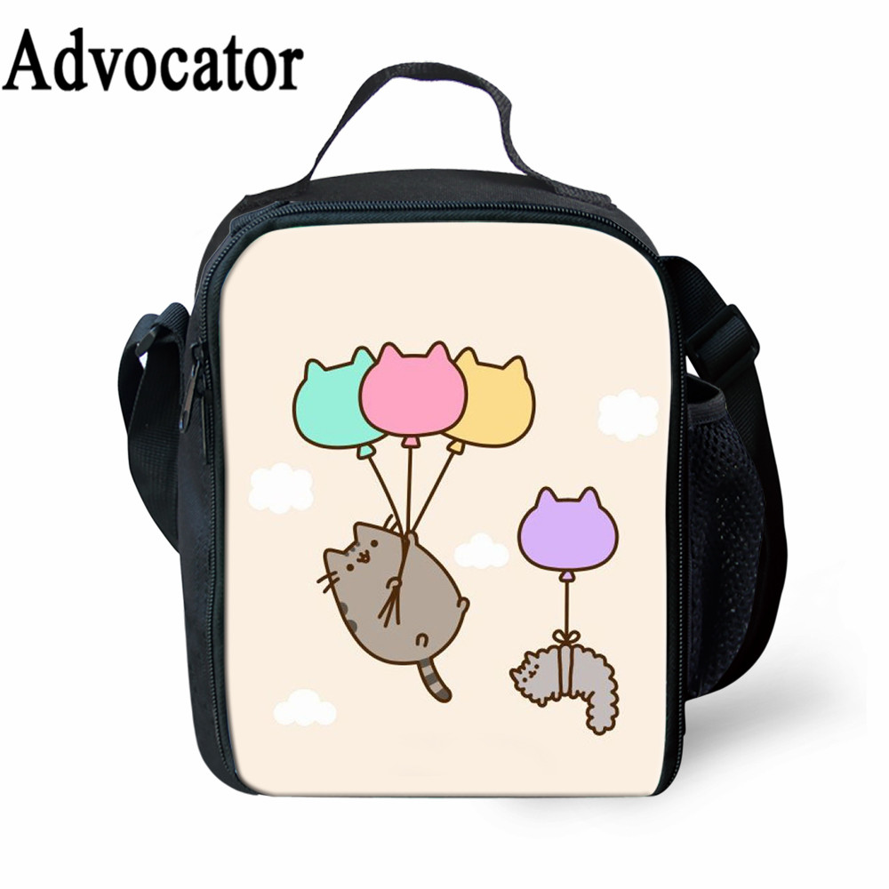 Advocator fat Cat Pattern Lunch Bag Cartoon Girls Portable Thermal Food Picnic Bags for School Kids Girls Boy Lunch Box Tote