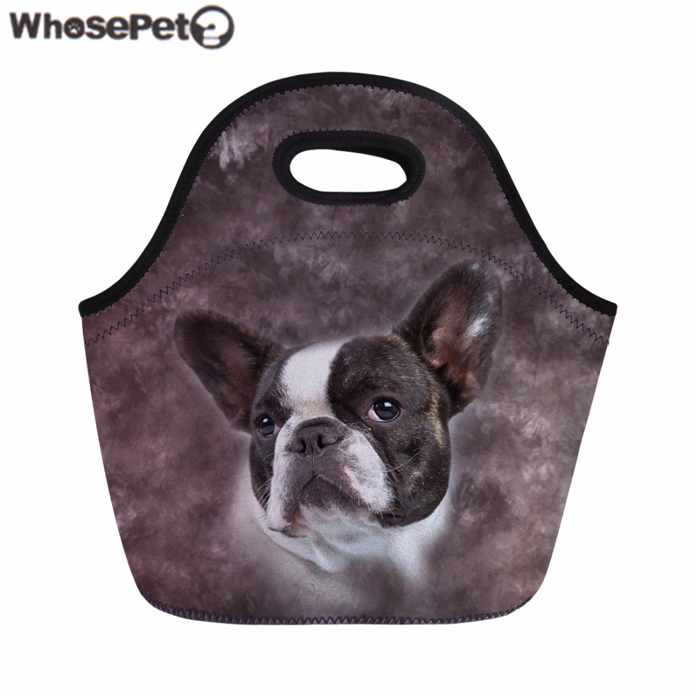 WHOSEPET Women Lunch Bag Bulldog 3D Print Picnic Bag for Kids Boys Girls Food Storage Bags Female Thermal Meals Sacola Snack Bag