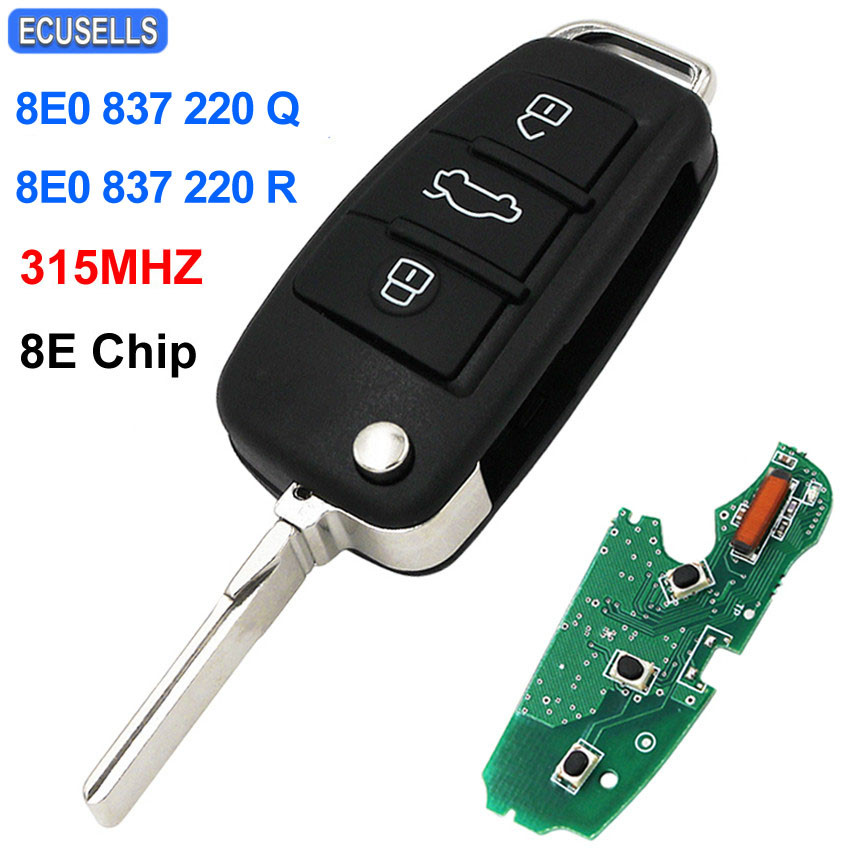 3 Button Folding Remote Key Flip Smart Car Key 315Mhz 8E Chip for Audi A6L A4