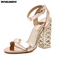 TINGHON Summer Crystal Shoes Gladiator Sandals Women High Heels Sandals Party Wedding Shoes Glitter Ladies Sandals