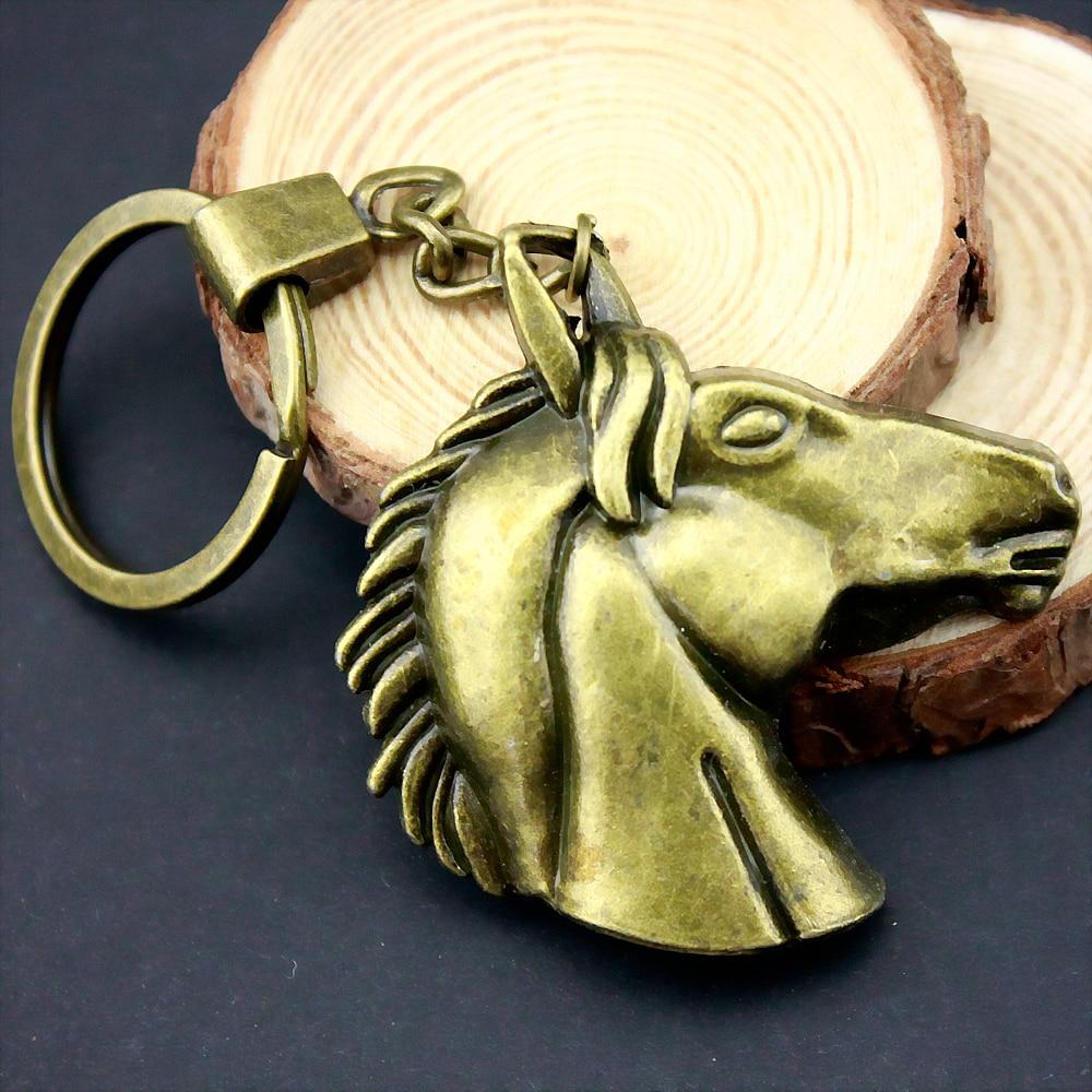 5pcs Home Decor Metal Crafts Favors big horse head Pendants DIY Car Key Ring Holder Souvenir Gift Optional Package Box