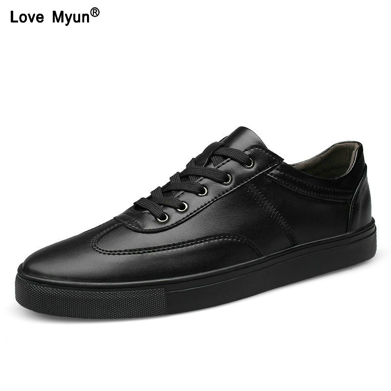 844 2018 New Spring Autumn Leather Mens Casual Shoes, Fashion shoes for Men, Lace-Up Black White Sneakers Shoes Size 35~49 urbanfind men lace up casual shoes black white blue eu size 39 44 brand fashion men leather footwear for spring autumn