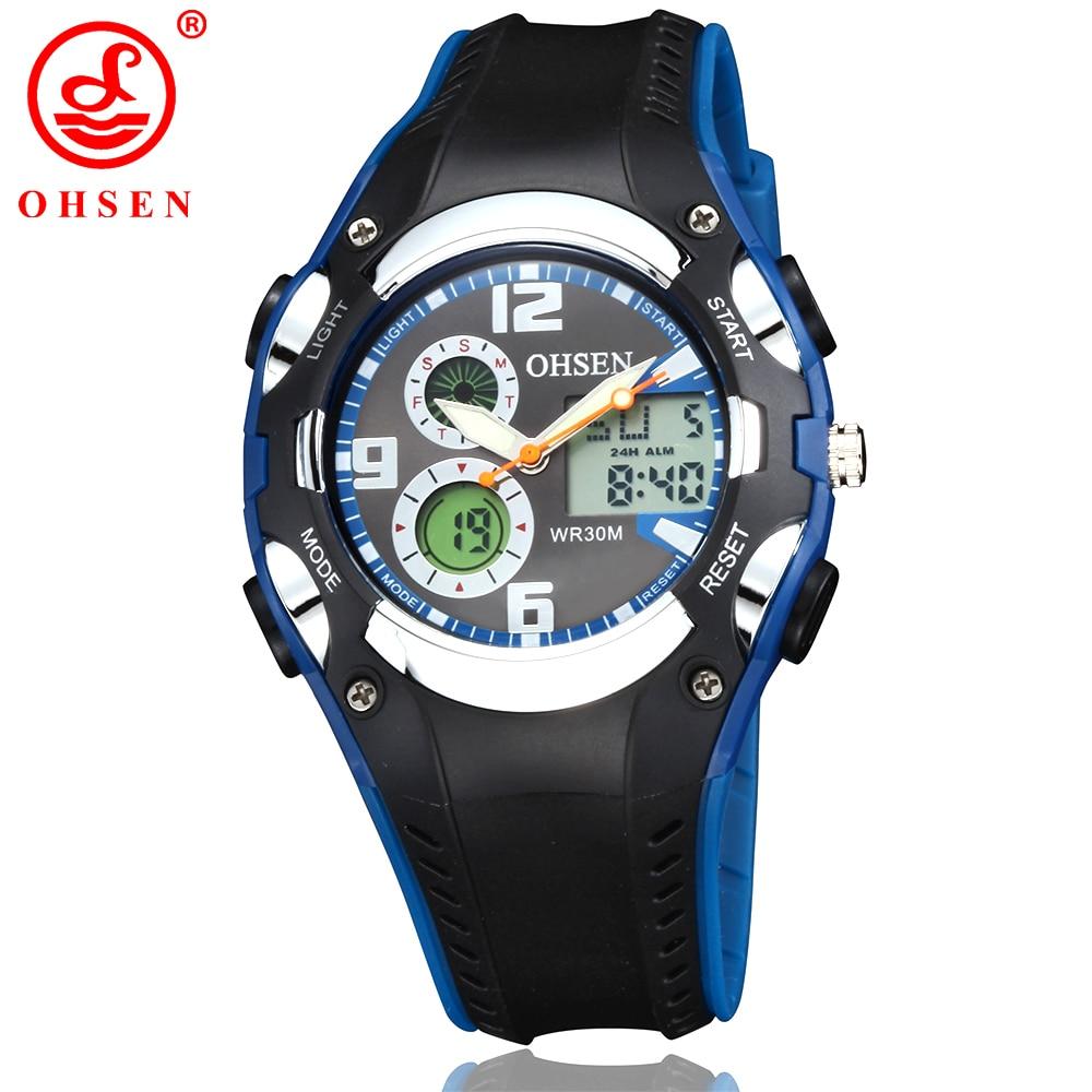 Moda OHSEN Marca Digital Desporto relógios de quartzo Relógio de pulso Crianças Meninos Crianças impermeáveis de borracha Banda Relógios Populares para presente