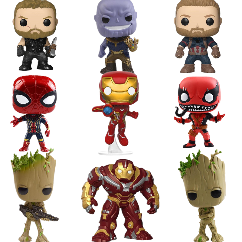 NEW 10cm Avengers 3 Infinity War Action Figure Big Bobble Head POP Figures Model For Children Gift THANOS IRON SPIDER HULKBUSTER ...