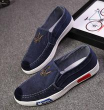 2017 hot selling summer men denim casual shoes lazy shoes slip on solid breathable soft canvas