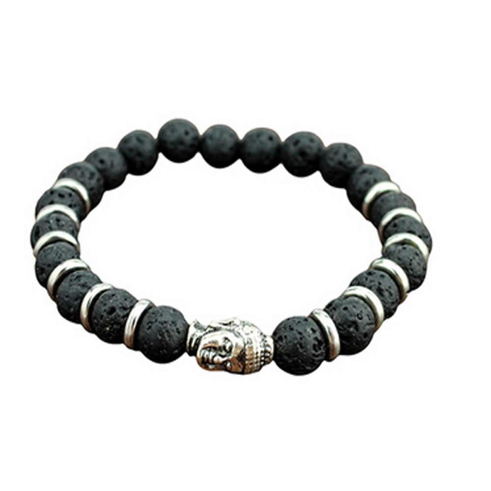 Pulsera de moda para hombre con piedra de Lava, Calavera, León, Buda, cuentas, Roca, pulsera elástica de cristal para Halloween