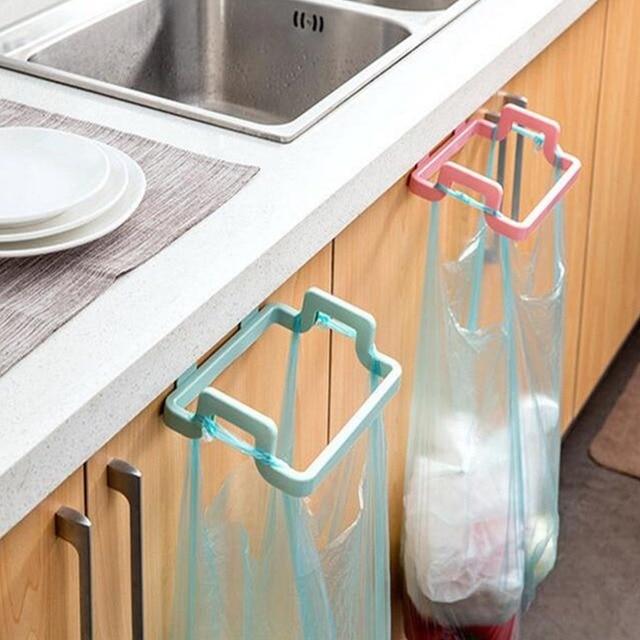 1PCS Kitchen Door Back Portable Garbage Bag Bracket Household Cabinet Door Rear Rag Hanging Rack Trash Can
