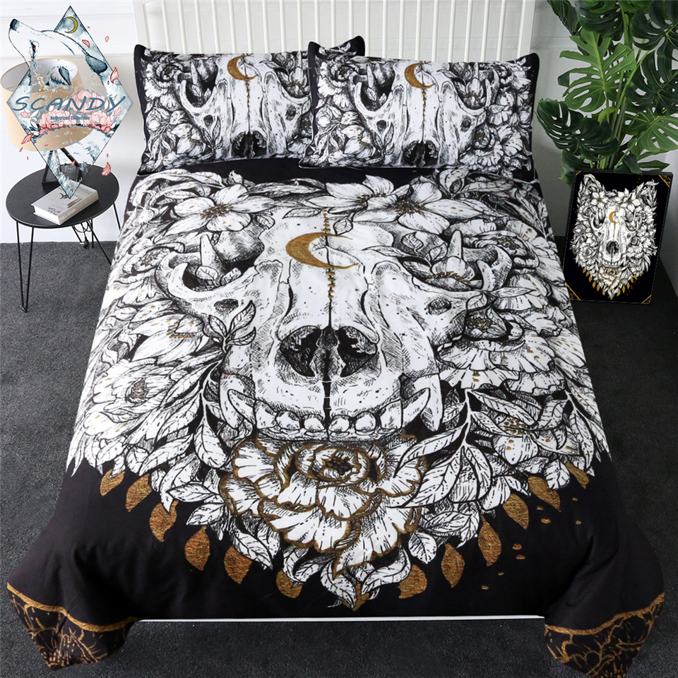 Wolf Skull By Scandy Girl Bedding Set Floral Leaf Quilt Cover Animal Skeleton Gothic Bed Set Queen 3pcs Golden Luxury Bedspreads