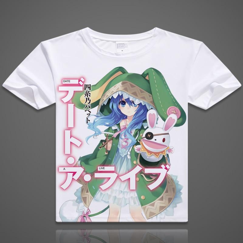 2017 short cotton tshirt for men women digital printed anime date a live cosplay t shirt date a live shirt yoshino T-shirt