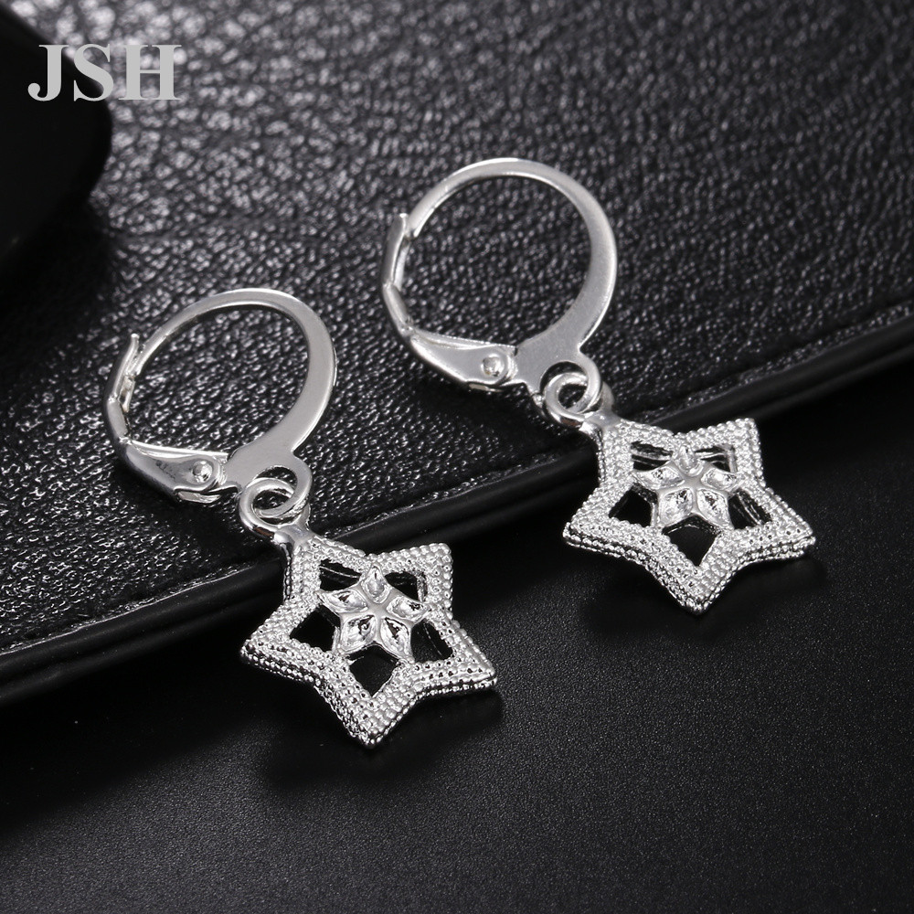 wholesale , For Lady women silver color earrings charms Hoop wedding hook CUTE Bohemia fashion classic jewelry JSHLE044 1