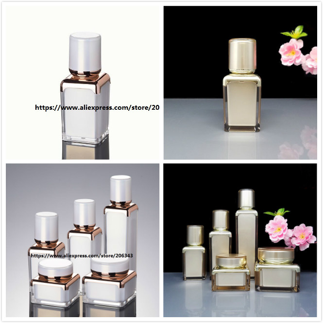 15ml pearl white gold square shape acrylic airless bottle for serum lotion emulsion foundation liquid cosmetic