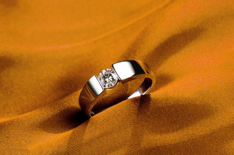 0 5 Carat Classic Men s Solitaire Ring Solid 18K White Gold Man