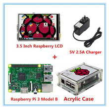 Cheapest prices Raspberry Pi 3 Model B Board + New version 3.5 Inch LCD USB Touch Screen Display + Acrylic Case+2.5A Power Supply Charger