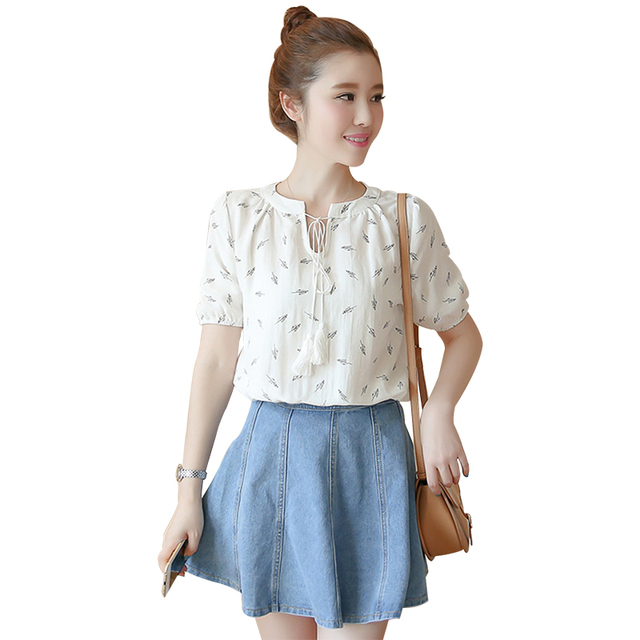 9445b3f16dc617 Simple Sweet Women Blouse Korean Style Half Sleeve Short Tops For Girls  Summer Loose O-Neck Top White Pink For Choosing